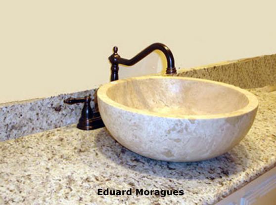 Eduard moragues encimeras de ba o con m rmoles y piedras - Picas de piedra para bano ...